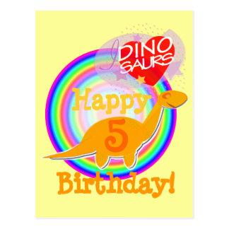 Happy Birthday 5 Years Orange Dino Postcard