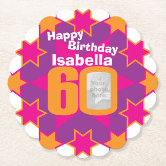 Happy birthday 60th name and photo paper coasters