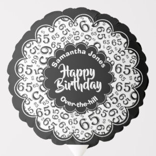 Happy Birthday 65th Black White Party Pattern Balloon