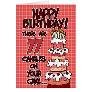 Happy Birthday - 77 Years Old Card