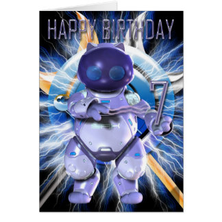 Happy Birthday 7th, Robot Kitty, Robot Cat Greeting Card