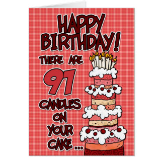 Happy Birthday - 91 Years Old Card