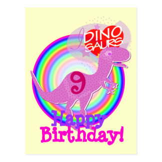 Happy Birthday 9 Years Purple T-Rex Dino Postcard