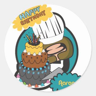 happy birthday Aaron Round Sticker