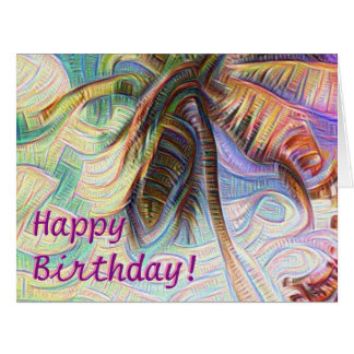 Happy Birthday Abstract Rainbow Palm Tree Card