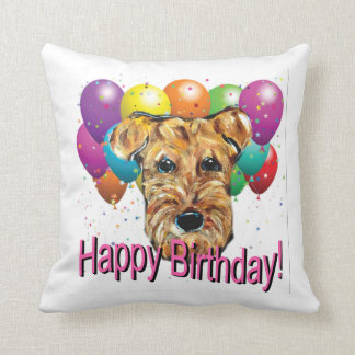 HAPPY BIRTHDAY AIREDALE THROW PILLOW