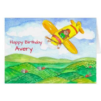 Happy Birthday Airplane Custom Name Card