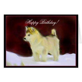 Happy Birthday Alaskan Malamute greeting card