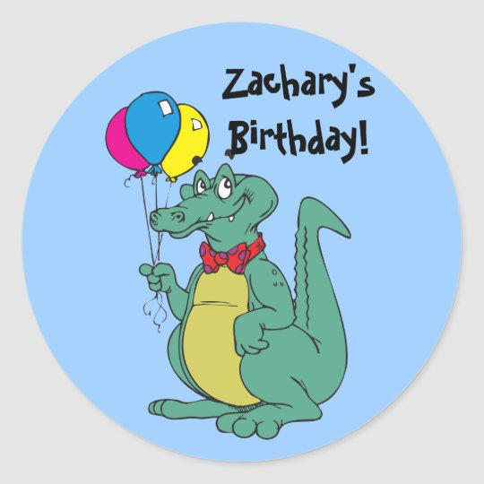 Happy Birthday Alligator Balloon Sticker