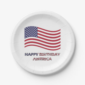 Happy Birthday America 4th of July 7 Inch Paper Plate