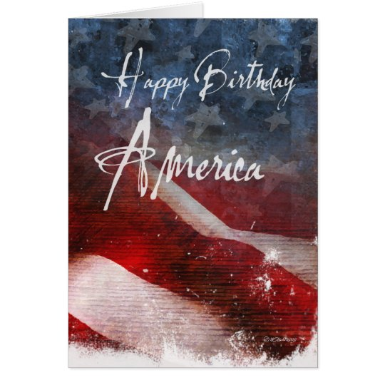 Happy Birthday America-Aged flag Card