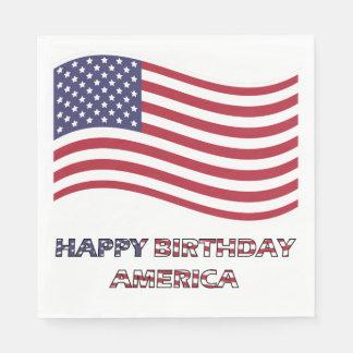Happy Birthday America Flag Napkin