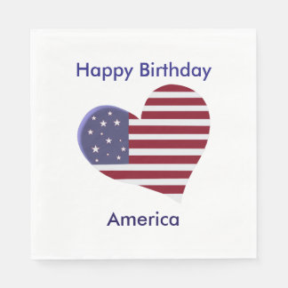 Happy Birthday America, Red White and Blue Heart Disposable Napkin