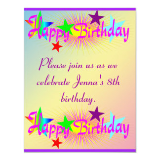 Happy Birthday and Stars - Card