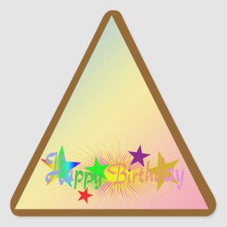 Happy Birthday and Stars - Triangle Sticker