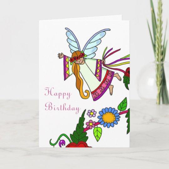 happy birthday angel ukrainian folk art card  zazzleca