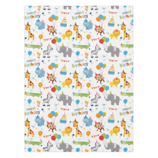 Happy birthday animal party print tablecloth