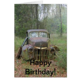 Happy Birthday Antique Car Card