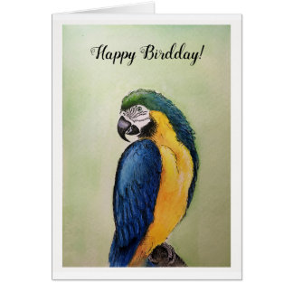 Happy Birthday Ara Watercolor & Ink Painting Card