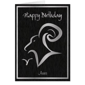 Happy Birthday Aries Elegant Horoscope Card