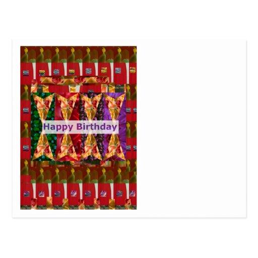 HAPPY Birthday ART n Script : Greetings Blessings Postcard
