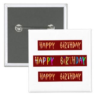 HAPPY BIRTHDAY Artistic Script Text 2 Inch Square Button