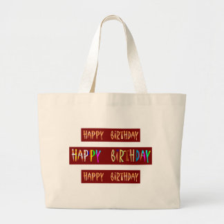 HAPPY BIRTHDAY Artistic Script Text Jumbo Tote Bag