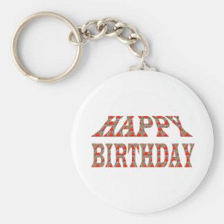 HAPPY BIRTHDAY Artistic Text Script TEMPLATE uniqu Keychain