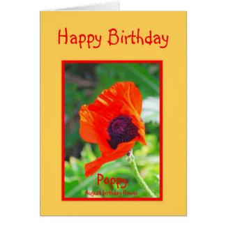 Happy Birthday August Birthday Poppy Card