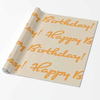 Happy Birthday! Autumn Orange Casual Script Wrapping Paper