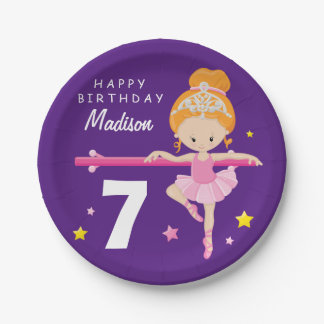 Happy Birthday Ballerina Paper Plate