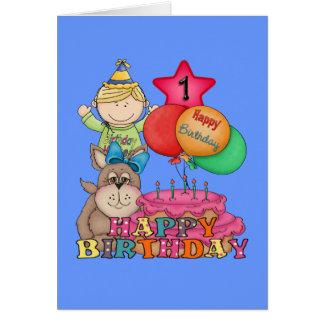 Happy Birthday Balloons Boy 1 Year Old Card