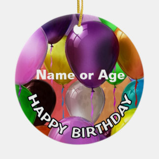 Happy Birthday Balloons Ceramic Ornament