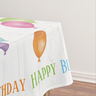 Happy Birthday Balloons Editable Table Cloth