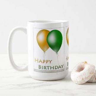 Happy Birthday Balloons Green and Gold Coffee Mug