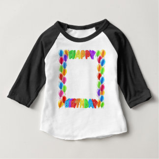 Happy Birthday Balloons Invite Border Frame Baby T-Shirt