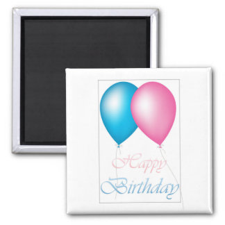 Happy Birthday Balloons Pink and Blue Magnet