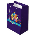 Happy Birthday Balloons Purple Medium Gift Bag