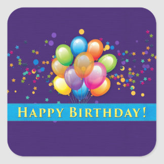 Happy Birthday Balloons Purple Square Sticker