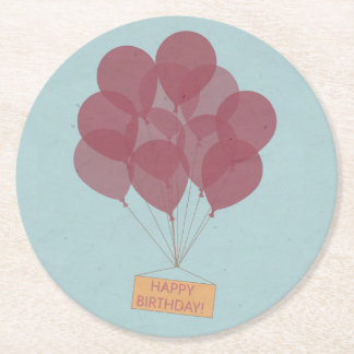 Happy birthday balloons round paper coaster