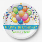 Happy Birthday Balloons - TEMPLATE CUSTOMIZE Paper Plate