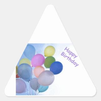Happy Birthday Balloons Triangle Sticker