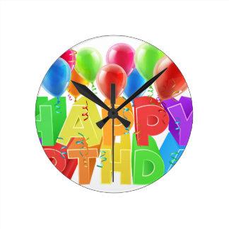 Happy Birthday Balloons Wallclocks