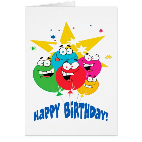 happy birthday balloons with faces cartoon card