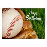 Happy Birthday Baseball with Mitt Greeting Card