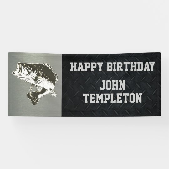 Happy Birthday Bass Fishing Mens Banner Zazzleca