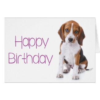 Happy Birthday Beagle Puppy Dog Greeting Card