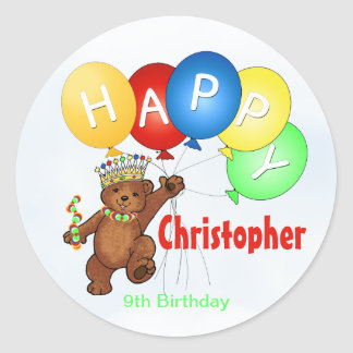 Happy Birthday Bear 9th Birthday Classic Round Sticker