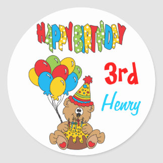 Happy Birthday Bear Classic Round Sticker