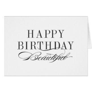 Happy Birthday Beautiful Black and White Card
